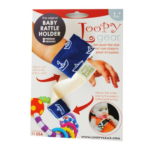 Loopy Gear Organic Cotton Baby Rattle Holder, Seven Seas Blue Pattern