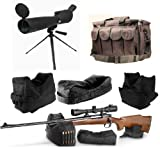 """Ultimate Arms Gear 25-75x75 Black Rubber Armored Sniper Spotter Hunting Spotting Scope + 9"""" Tripod + Sunshade + Lens Kit + Pro Series QD Front & Rear 3 Piece Shooting Rifle Shotgun & Muzzle Loader Steady Shooter Support Bag Range Set + Stealth Black Heavy Duty Equipment Hunting Law Enforcement Range Bag Gear with Magazine Ammo Pouches"""