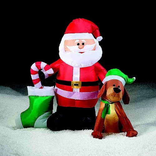 4' Santa and Dog Christmas Stocking Candy Cane