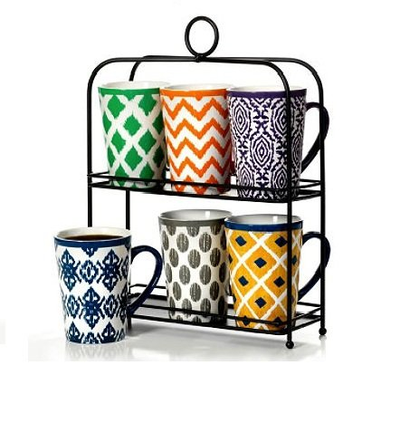 6-Piece Mug Set with Stand- Brand New Item