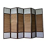 PEGANE Paravento giapponese in legno bambù di 6 Pannelli