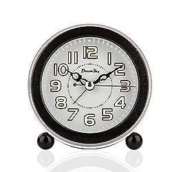 Alarm Clock ,DreamSky Non Ticking Quartz Analog Alarm Clock With Nightlight And Snooze, Loud Music Alarms,Simple To Set Clocks, Small Bedside Alarm Clock ,Battery Powered (Black)