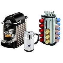 Nespresso Pixie C60 Electric Titan Espresso Machine with Aeroccino Plus and Bonus 30 Capsule Carousel