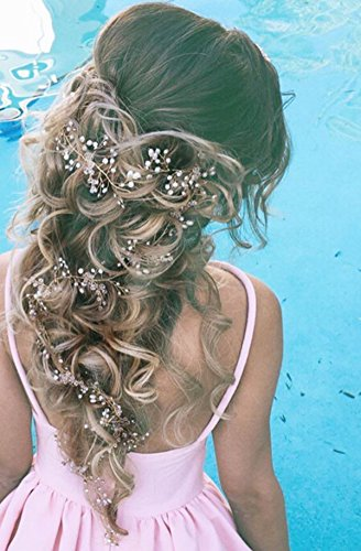 Bridalvenus Wedding Headband Bridal for Bridesmaid and Flowergirls - Super Extra Long Pearls Silver Hair Accessories for Women and Girls
