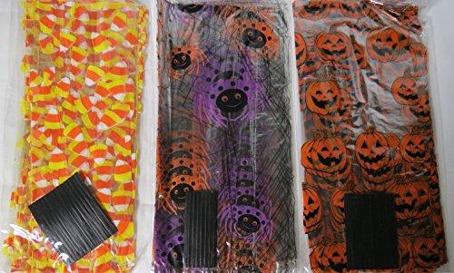 75 Halloween Treat Bags with Twist Ties - Cellophane Bags (Cellophane Bag Ties compare prices)