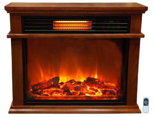 Lifesmart Easy Set 1000 Square Foot Infrared Fireplace Includes Deluxe Mantle In Quakerstown Oak Color & Remote picture B00F4BHLPC.jpg