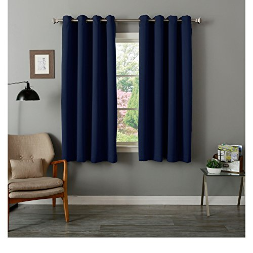 4 Piece Grommet Top Thermal Insulated Blackout 64-Inch Navy Curtain Panel Pair, Contemporary Style, Energy Saving Design, Blackout Feature, Polyester Material, Solid Pattern, Baby Blue, Turquoise