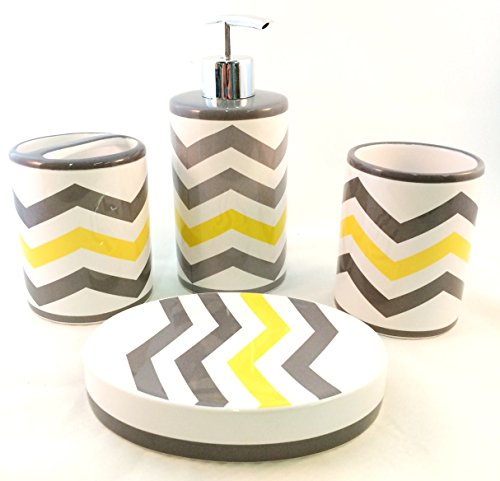 Chevron lotion soap pump dispenser dish tumbler toothbrush for Bathroom decor yellow and gray