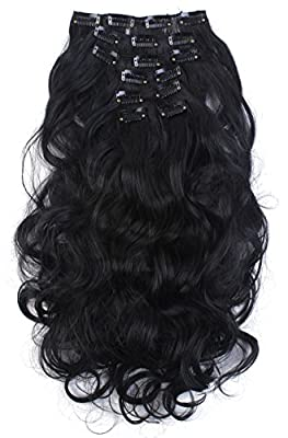 "SARLA® 20"" 7Pcs Full Head Wavy Clip In Hair Extensions Synthetic Heat-Friendly Fiber HairPiece"