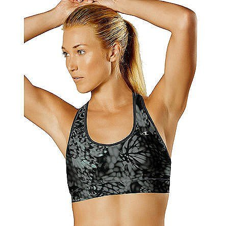 Champion Women's Absolute Sports Bra with SmoothTec Band, Black Wingspan/Black, Small