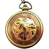 [モノジー] MONOZY 手巻き 機械式 ネックレス 時計 ブロンズ ペンダント 懐中時計 スケルトン 【収納袋、化粧箱】 アンティーク ネックレス時計