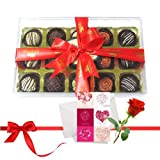 Valentine Chocholik's Luxury Chocolates - Great Truffles Collection With Love Card And Rose