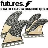 ショートボード用フィン FUTURES. FIN フューチャーフィン RASTA QUAD HEX BAMBOO ラスタ クアッド バンブー 4フィン クアッドフィン クワッドフィン