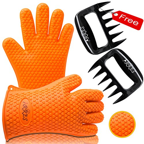 Barbecue Gloves & Pulled Pork Claws Set ♦ Silicone Heat Resistant Grilling Accessories & Home Kitchen Tools For Your Indoor & Outdoor Cooking Needs ♦ Use as BBQ Meat Turner or Oven Mitts (Green Egg Bbq Accessories compare prices)
