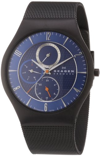 Skagen Mens Watch 806XLTBN with Black Stainless Steel Bracelet and Blue Dial