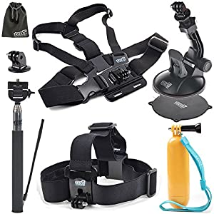 EEEKit 5in1 Starter Kit for Cymas Full HD 1080P Sports Action Camera, Head Strap,Floaty Grip Pole,Chest Harness,Car Suction Cup,Selfie Stick Monopod