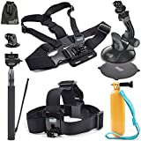 EEEKit  8-in-1 Accessories Kit for Gopro Hero4 Session LCD Black/Silver Hero HD 3+/3/2/1 Camera, Head Belt Strap Mount+ Chest Belt Strap Mount+ Extendable Handle Monopod + Car Suction Cup Mount Holder + Floating Handle Grip + 2 PCS Tripod Mount Adapter+2 PCS Gopro Surface J-Hook+EEEKit Pouch