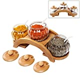 (Set of 3) Clear Glass Condiment Spice Jars, Ceramic Serving Spoons & 2 Tier Wood Display Rack - MyGift®