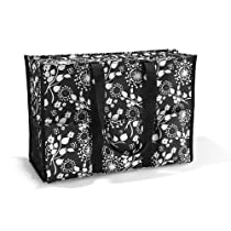 Thirty One Super Organizing Tote Black Floral Brushstrokes
