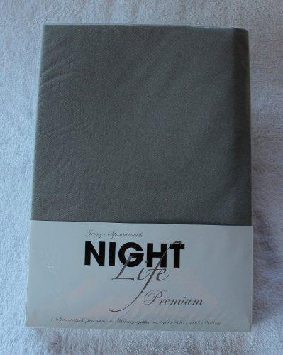 NightLife Jersey Spannbettlaken Farbe nebel helles grau Größe 180 x 190 bis 200 x 200 cm Spannbettuch Spannlaken mit Rundumgummi 100% Baumwolle