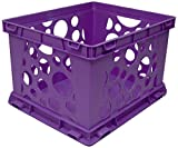 Storex Large Storage and Transport File Crate, 17.25 x 14.25 x 10.5 Inches, Dark Purple, Case of 3 (STX61570U03C)