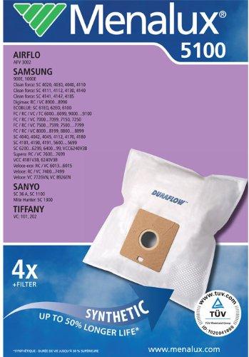 Menalux 5100 Sacchetto per aspirapolveri Samsung e Nilfisk, confezione da 4