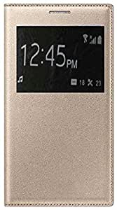 Pegions Flip Cover for Xiaomi Redmi Note 3 with Cut Out Window, Gold