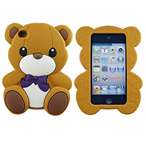 S9D New Cute 3D Bear Silicone Back Cover Case for Apple Ipod Touch 4G 4 4th Gen TC11