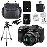 Nikon COOLPIX L830 16 MP CMOS Digital Camera with 34x Zoom NIKKOR Lens and Full 1080p HD Video (Black). Package Includes: 4AA Batteries + Charger + 16GB Memory Card & more