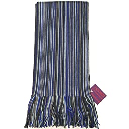 Navy, Blue and Grey Men\'s Scarf - Fine Quality Merino Wool Winter Striped Scarf