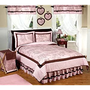 Pink and Brown French Toile and Polka Dot Girls Bedding