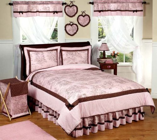 Pink And Brown French Toile And Polka Dot Childrens Bedding 4Pc Twin Set By Sweet Jojo Designs front-26885