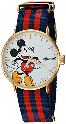 Ingersoll 'Disney Classic Time' Quartz Metal and Nylon Casual Watch, Color:Red (Model: IND 007 GDRD) 0