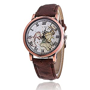 Wrist Watch Classic Men's Watch with Brown Leather Strap
