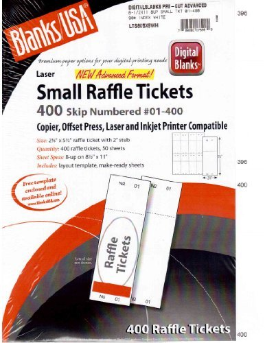 Blanks/usa Small Raffle Event Show 400 Ticket Printable Copier, Offset Press, Laser and Inkjet Printer Compatible (Offset Press Printer compare prices)