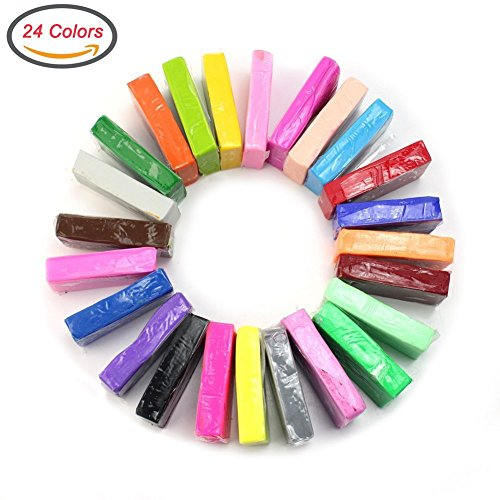 DIY Colorful Clay,CiaraQ Creativity Street Modeling Clay, Soft Moulding Craft Oven Bake Clay Sampler 24 colors Clay Set, Best Kids Gifts for Christmas. (Modeling Clay Bake compare prices)