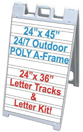 "NEOPlex 25"" x 45"" Plasticade/Signicade Sidewalk Sandwich Board A-frame Sign w/Letter Tracks and Full Letter Kit"