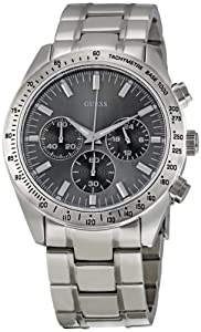 Guess Gents Watch W13001G1 with Grey Multifunction Dial with Bezel, Steel Bracelet and Silver Coloured Steel Case