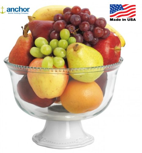 Anchor Hocking Isabella &sur pied en verre Motif fruits /-Coupe à Trifle