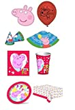 Peppa Pig 16 Place Setting Party Pack - 16 x Cups,Plates,Napkins,Balloons,Masks,Party Hats & Tablecloth