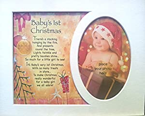 Memory Mounts Baby's 1st Christmas Xmas Gift For A Photo Frame 10 x 8 Inch