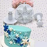 New 3pcs/set Snowflake Fondant Cake Decorating Plunger Sugarcraft Cutter Mold Tools Bakeware Tools thumbnail