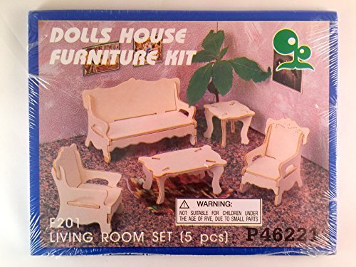 Doll House Furniture Kit - Wooden - Living Room Set (5 Pcs) - 1