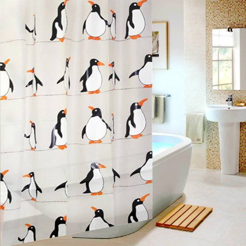 Eforgift 72 By 78 Inch Inches Eco-Friendly Cute Penguins (Black /Red) Peva Non-Mildew Shower Curtain Decor Bathroom Curtain For Childrens X-Long front-621906
