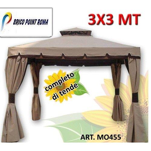Gazebo Cipro 3x3 mt con tende teli laterali incluse telo impermeabile 100% MO455