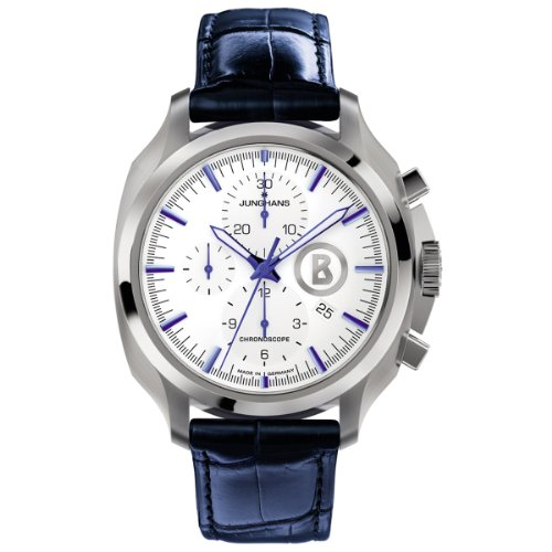 Junghans Uhren Bogner Willy Chronoscope 027/4260.00 - Reloj para hombres, correa de cuero color azul