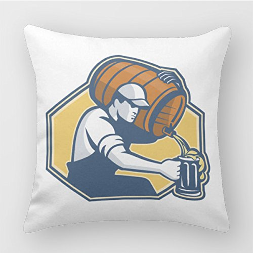 Polada Bartender Worker Pouring Beer From Barrel To Mug Decorative Pillows 18 X 18 Pillow Cushion Covers