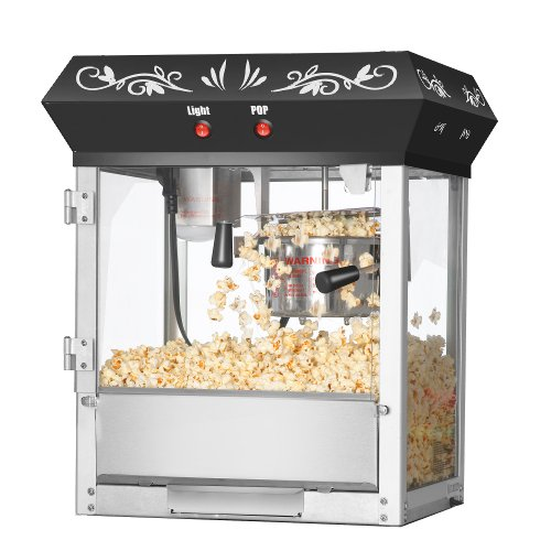 Great Northern Popcorn Black 6 oz. Ounce Foundation Old-Fashioned Movie Theater Style Popcorn Popper Old Antique Carnival Glass