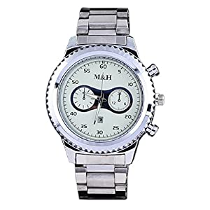 Baishitop M&H Mens Luxury Wrist Watch, Gear Shape Dial and Calendar Display(White)