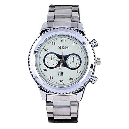 Baishitop M&H Mens Luxury Wrist Watch, Gear Shape Dial and Calendar Display(White)